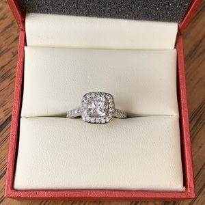 1.50 CTW Halo Setting Diamonique Engagement Ring